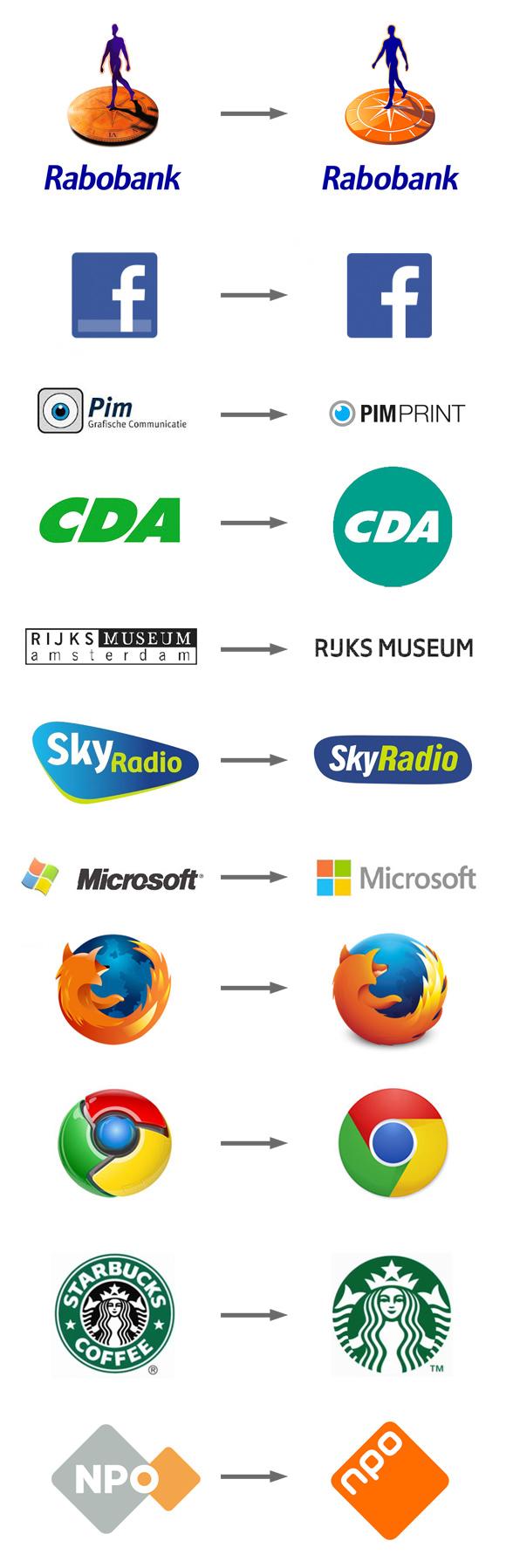 Vernieuwde logo's 2015, oud en nieuw