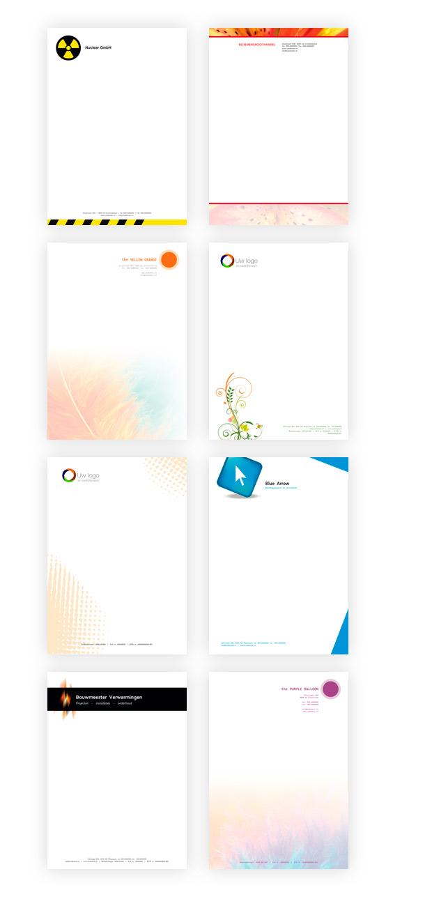 Voorbeelden van briefpapier ontwerp