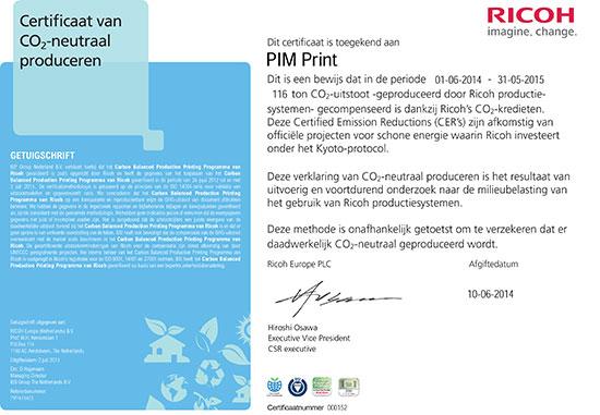 Certificaat voor Co2 neutraal produceren